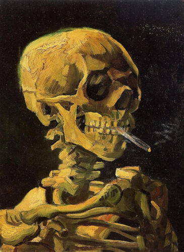 Oil painting Vincent Van Gogh - Skull Smoking a Cigarette