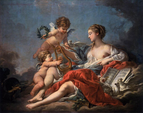 Oil painting francois boucher - Allegory of Music Venus with angels birds canvas