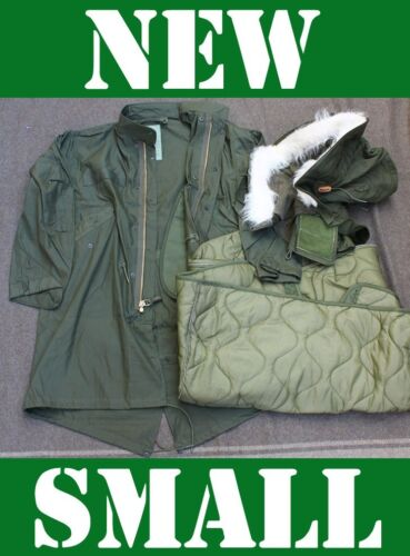 NEW SMALL US MILITARY FISHTAIL PARKA JACKET ARMY M65 EXTREME COLD GENUINE OD NOSOther Military Surplus - 588