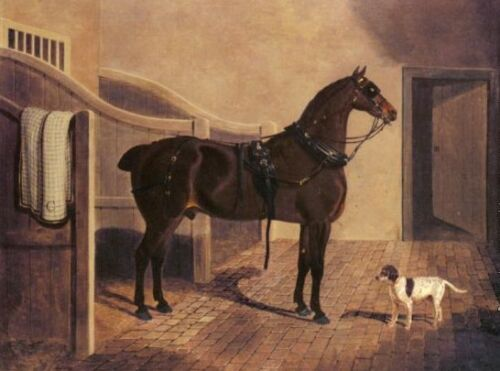 Oil Herring, John Frederick Jr - A Favorite Coach Horse and Dog in a Stable