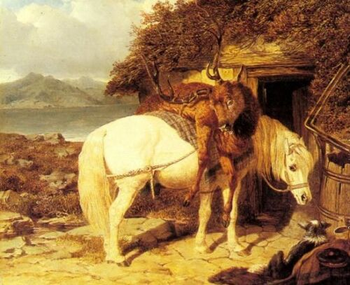 Oil Herring, John Frederick Jr - The End of the Day White horse laden with prey