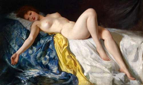 Dream-art Oil painting nice nude girl beauty lady woman on bed canvas Supermodel