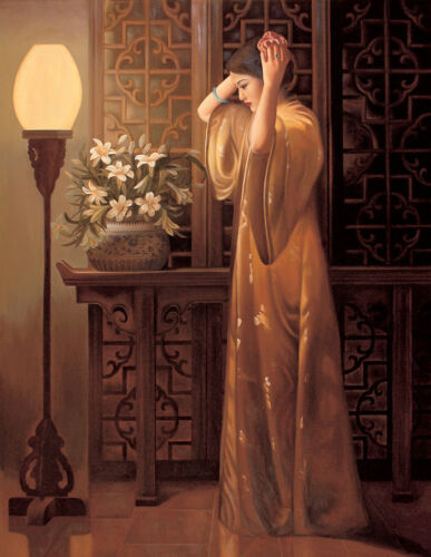 Dream-art oil painting beautiful Chinese young woman in her toilet flowers lamp