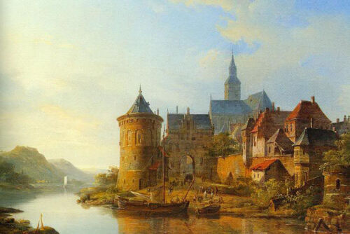 """Dream-art Oil painting castle and church by river in sunset landscape canvas 36"""""""
