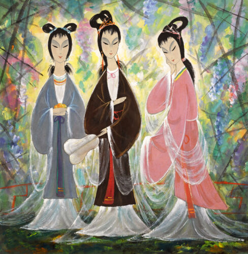 Beautiful Oil painting Chinese three beauties young girls in spring season