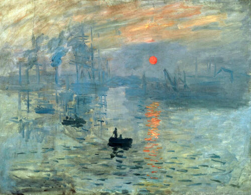 Art Oil painting Monet - Impression Sunrise seascape with canoes in the morning