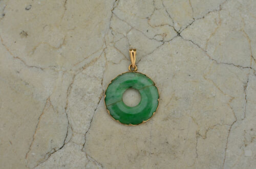 LATE 20TH CENTURY ANTIQUE HAND CARVED JADEITE PENDANT SET IN 14K YELLOW GOLD