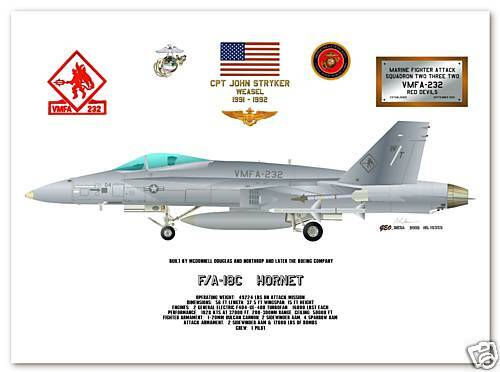 F/A 18C Hornet, VMFA-232 Red Devils, USMC Aircraft Fighter Print
