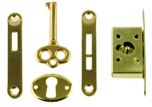 SMALL BOX LOCK, GOLD PLATED, FOR HUMIDORS, MUSIC BOXES,OR JEWELRY BOXES, K-40-B