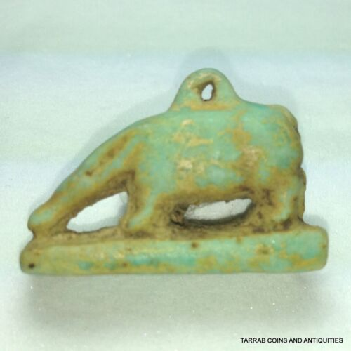 ANCIENT EGYPTIAN FAIENCE GODDESS NUT DEPICTED AS A SOW. 1070-664 BC!!