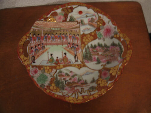 Antique Japanese Late 19th Early 20th Cent Kutani Porcelain Double Handled Plate