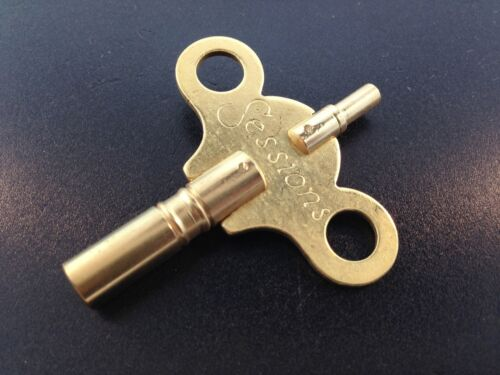 Sessions Anitque Clock Key Solid brass double end trademark wing 6/4