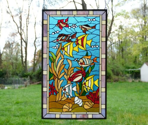 """20"""" x 34"""" Fish under the Sea Handcrafted stained glass window panel"""