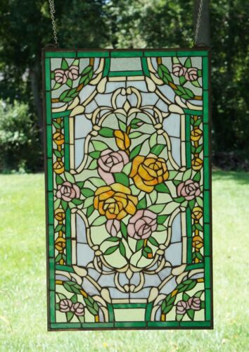 """20"""" x 34""""Rose Flower Handcrafted stained glass window panel"""