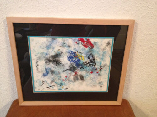 Contemporary 1988 Signed Framed Mixed Media Abstract Artwork