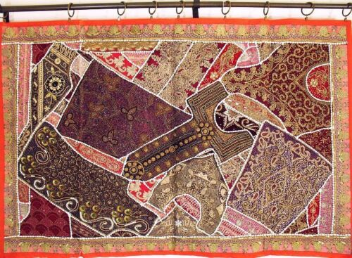 """Gold Orange Ethnic Eclectic Vintage Unique Decoration Moti Wall Tapestry 60"""""""