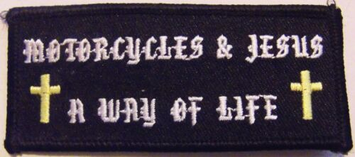 MOTORCYCLES AND JESUS - A WAY OF LIFE - CHRISTIAN PATCH WITH GOLD CROSSESOther Militaria - 135