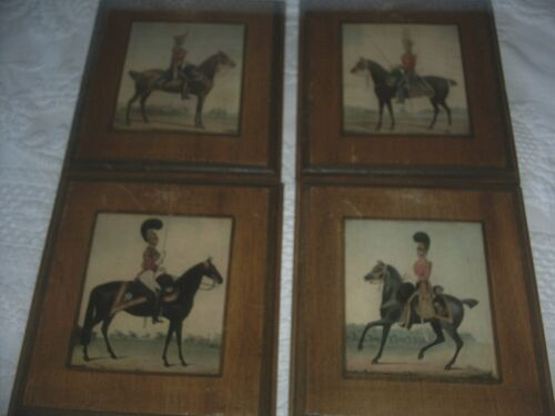 VINTAGE ITALIAN HORSE AND RIDER PLAQUES WOODEN