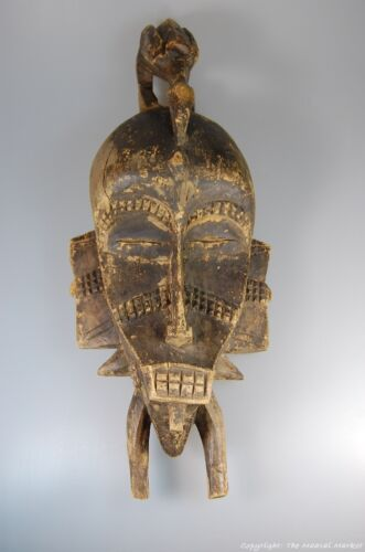 Senufo Kpelie African Cote d'Ivoire Tribal Mask Figure and Bird On Top 20""