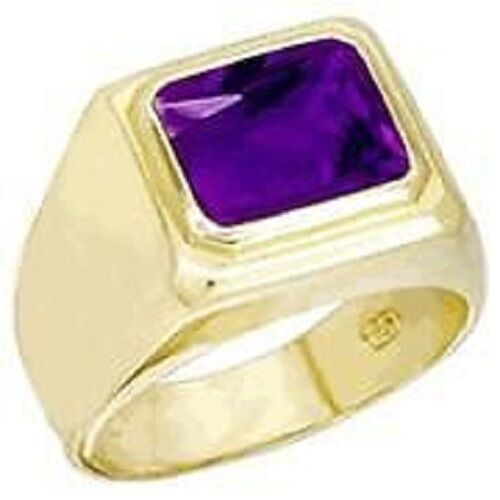 18K GOLD EP 2.0CT  AMETHYST EMERALD CUT MENS RING size 8 - 14 you choose