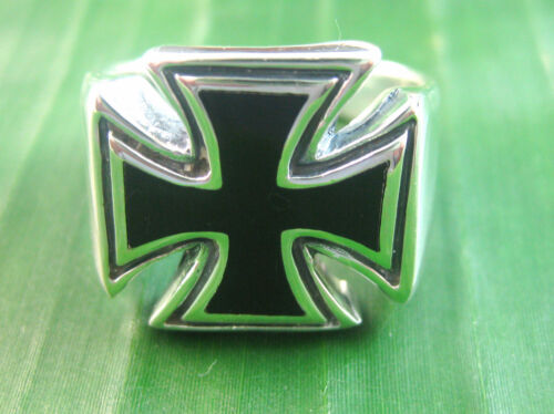 REAL 92.5% sterling silver Black Onyx Cross Men's Ring big size Q to Z+6 AUS