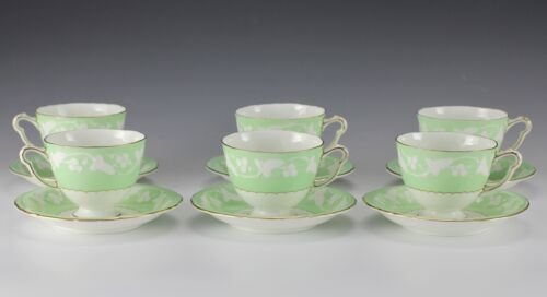 12pc Royal Crown Derby Kendal Celadon Footed Tea Cups and Saucers. Green White