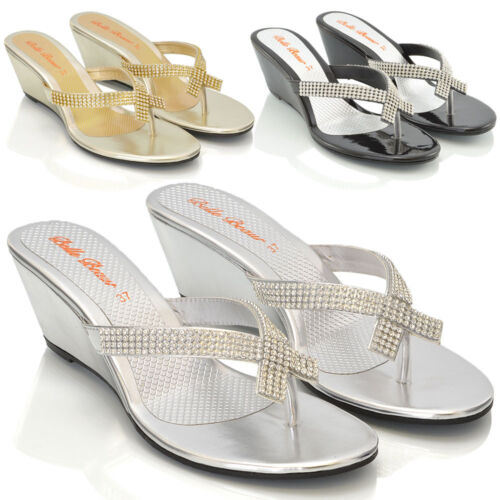 Womens Wedge Heel Flip Flops Sandals Diamante Sparkly Ladies Toe Post Shoes 3-9 <br/> FREE UK DELIVERY !!!!!!!!!!!!!!!!!!!!!!!!!!