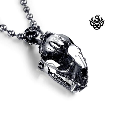 Silver skull sharp teeth pendant solid stainless steel necklace open-able medium