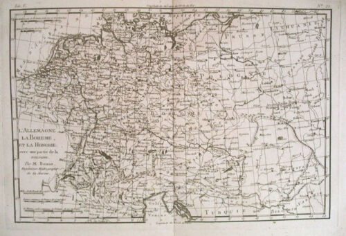 1780 Genuine Antique map of Germany & Hungary by Bonne
