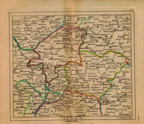 1761 Genuine Antique miniature map of central Germany. by A. Dury
