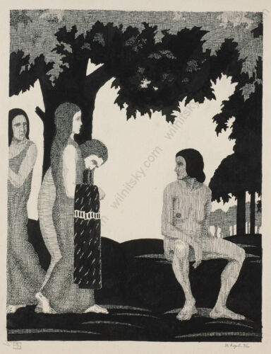 """""""Bathers"""" by Erwin Stolz (1896-1987), ink drawing, 1926"""