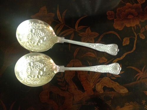 Vintage Pair of English William Adams Silver Plated Berry Spoons