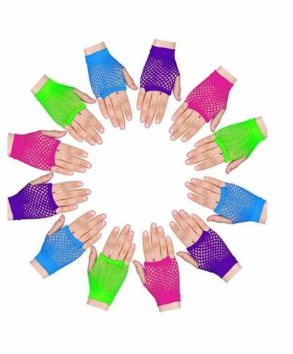 12pc Neon Fingerless Fishnet Wrist Gloves Assorted Colors 80s Costume Props
