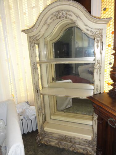 Antique White 19th Cen Rococo Style Curio Display Cabinet