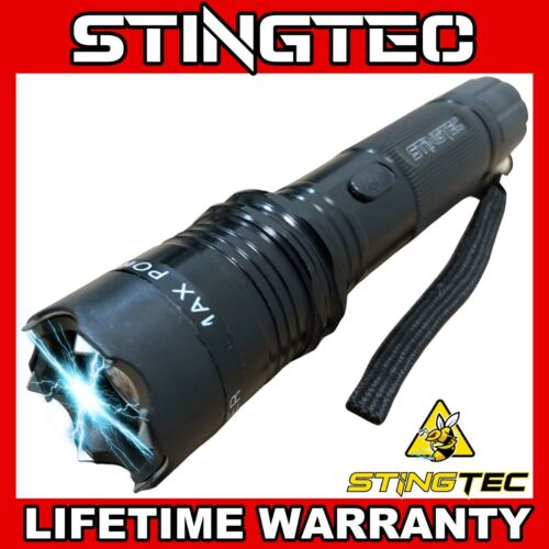 BLACK Metal MILITARY Stun Gun 350 Million Volt Rechargeable + LED Flashlight NEW