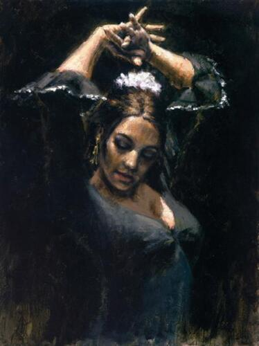 """""""DUENDE"""" by FABIAN PEREZ. SOLD OUT AP 23/35 EMBELLISHED GICLEE ON CANVAS! MINT!"""