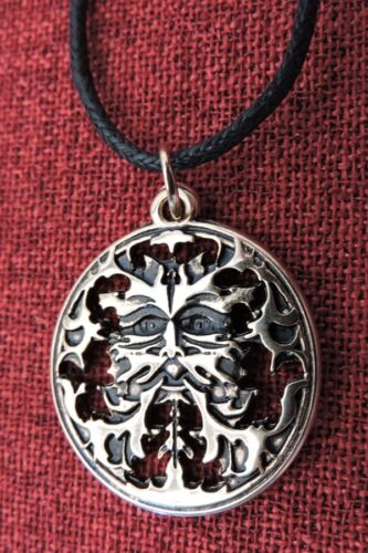 Green Man Pendant Celtic Pagan Wiccan Greenman Medieval Gold Plated Necklace