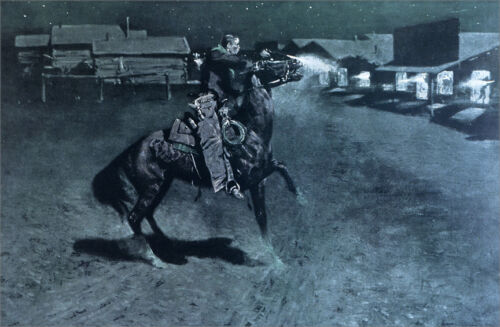 An Argument with the Town...  by Frederic Remington   Giclee Canvas Print Repro