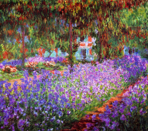 The Artists Garden at Giverny  by Claude Monet  Giclee Canvas Print Repro