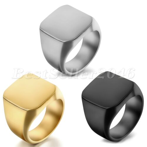 Polished Square Signet Ring Stainless Steel Biker Mens Wedding Band Size 7-14