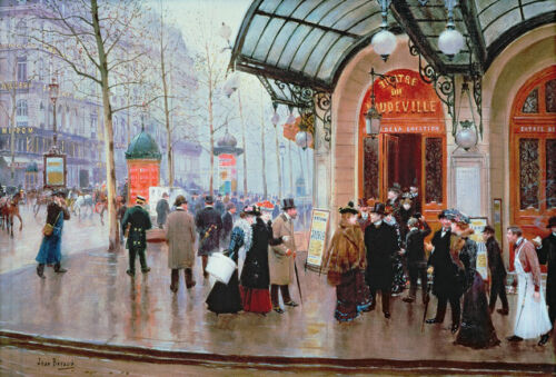 Outside the Vaudeville Theatre...  by Jean Beraud   Giclee Canvas Print Repro
