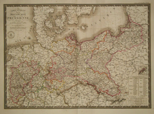 1828 Genuine Antique hand colored map of Prussia.  A.H. Brue