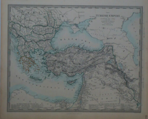1847 Genuine Antique hand colored map Turkish Empire & Kingdom of Greece. SDUK