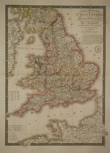 1827 Genuine Antique hand colored map of England & Wales. by A.H. Brue