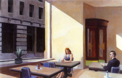 Sunlight in a Cafeteria  by Edward Hopper   Giclee Canvas Print Repro
