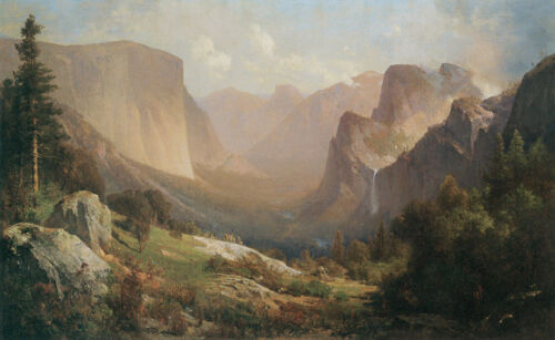 View of Yosemite Valley  by Thomas Hill  Giclee Canvas Print Repro
