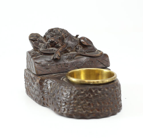 Swiss Lion of Lucerne Wood Ink well, Antique Hand Carved with brass bowl