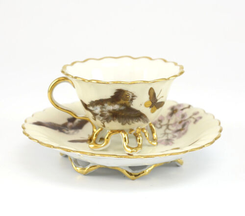 Pirkenhammer Porcelain Footed Demitasse Cup and Saucer - Hand painted