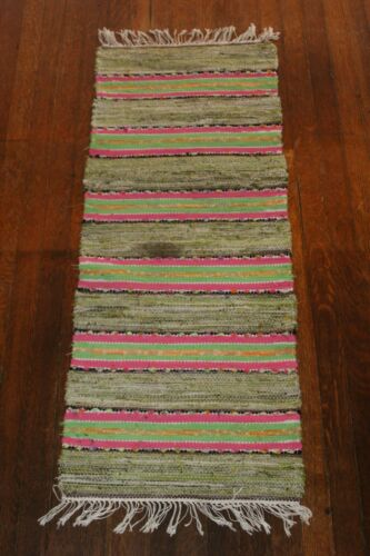 Bright Swedish Antique And Handmade Rag Rug /Table Runner 1930s (16x41 inches)