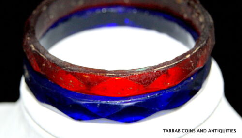 ANCIENT ROMAN FACETED BLUE AND RED GLASS BRACELETS 1ST-3RD CENT A.D. SET OF TWO!